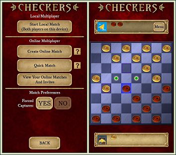 Android Checkers screenshots of online multiplayer feature